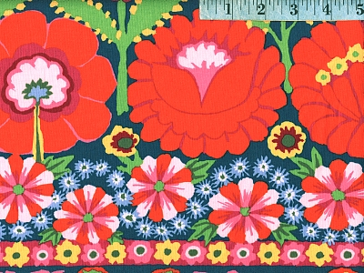 Red Embroidered Flower Border