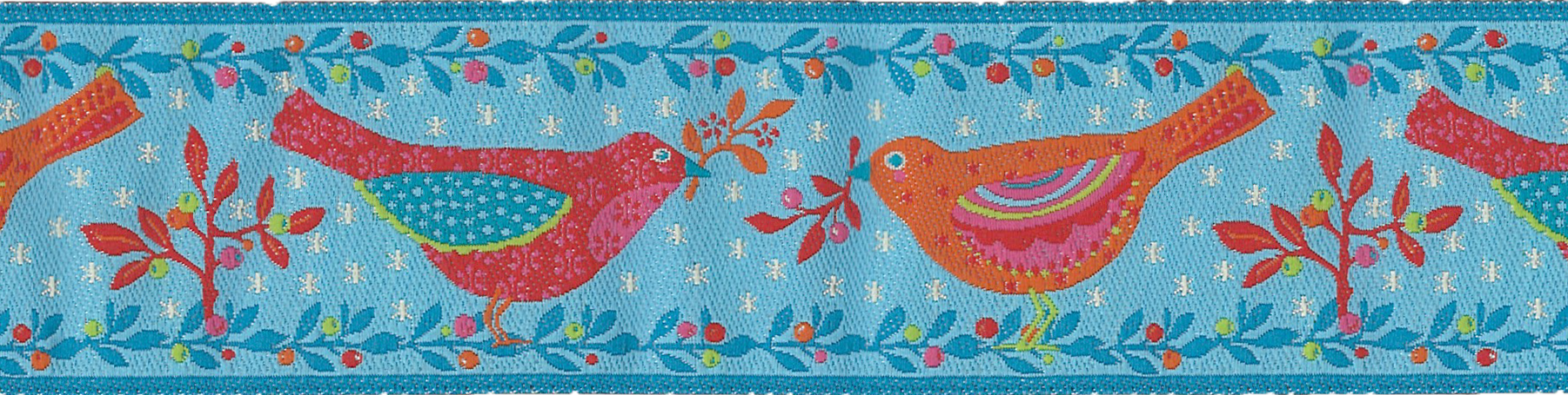 Blue Two Birds Ribbon (Wide)