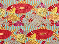 Bright Gone Fishing Laminated Fabric