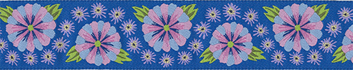Blue Embroidered Flower Ribbon
