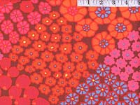Red Tile Flowers Home Dec Fabric
