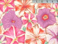 Pastel Petunias Laminated Fabric