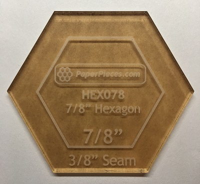7/8 Acrylic Hexagon Cutting Template