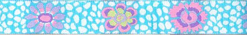 Aqua Guinea Flower Ribbon (Narrow)