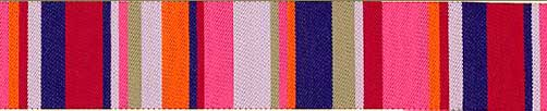 Pink & Blue Roman Stripe Ribbon (38 mm)