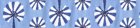 Palm Fans on Blue Ribbon (Wide)