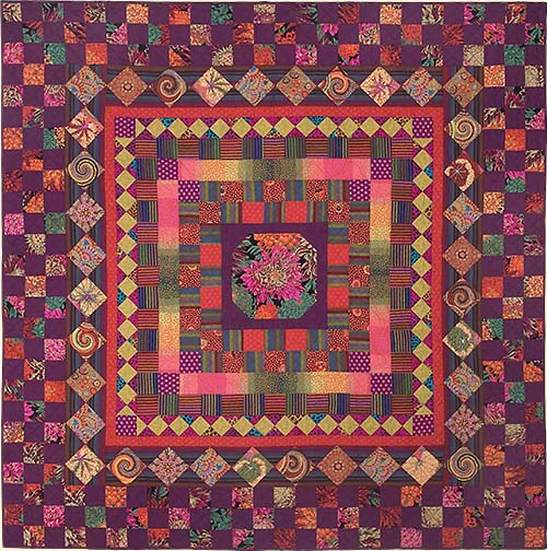 Purple Checkerboard Medallion Quilt Fabric Pack