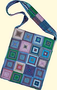 Striped Squares Tote (Blue)