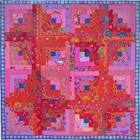 Red Log Cabin Quilt Fabric Pack